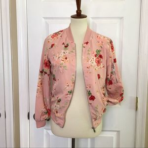 ❤️5 for $25 LOVE TREE Pink Floral Bomber Jacket